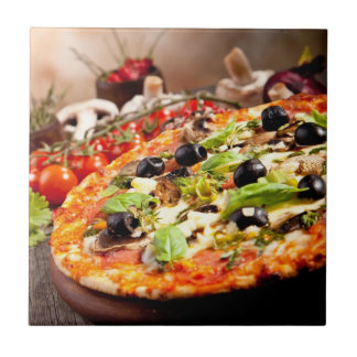 Fresh Italian pizza Ceramic Tile