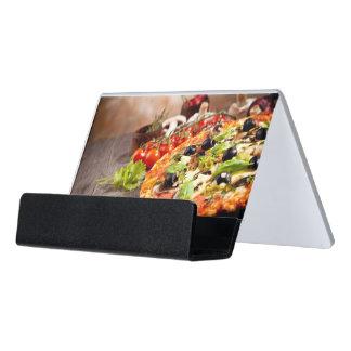 Fresh Italian pizza Desk Business Card Holder