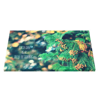 Fresh Japanese Cypress Tree Fall Leaves Bokeh Canvas Print