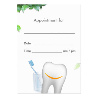 Fresh Leaves & Smile Tooth Dental Appointment Large Business Cards (Pack Of 100)