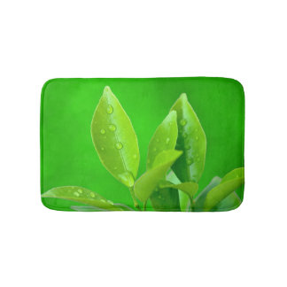 Fresh Leaves with Waterdrops on Green Bath Mat
