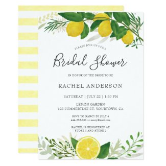 Fresh Lemon Bridal Shower Invitation Card 02