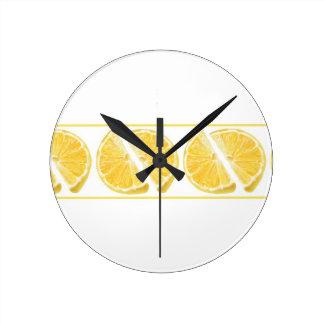 Fresh Lemon Pattern Round Wallclocks
