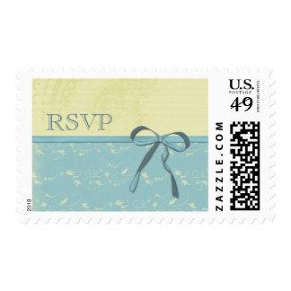 Fresh Lemon Vines Elegant Aqua Wedding RSVP Postage