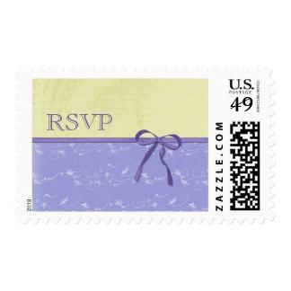 Fresh Lemon Vines Elegant Purple Wedding RSVP Postage
