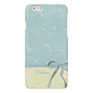 Fresh Lemon Vines on Blue Custom Personalized Name Matte iPhone 6 Case