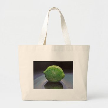 Beach Themed Fresh Lime Large Tote Bag