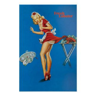 Fresh Lobster Blonde Waitress Pinched Poster