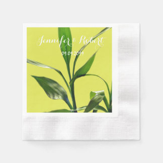 Fresh lucky bamboo green leaves in green backgroun paper napkin