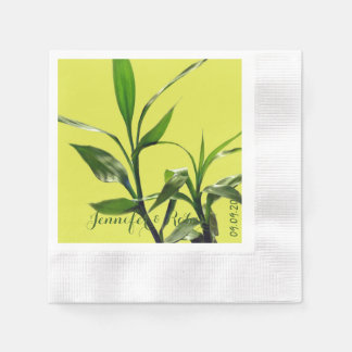Fresh lucky bamboo green leaves in green paper napkin