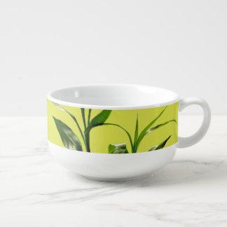 Fresh lucky bamboo green leaves in green soup mug