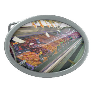 Fresh Meat Deli Counter at supermarket Belt Buckle