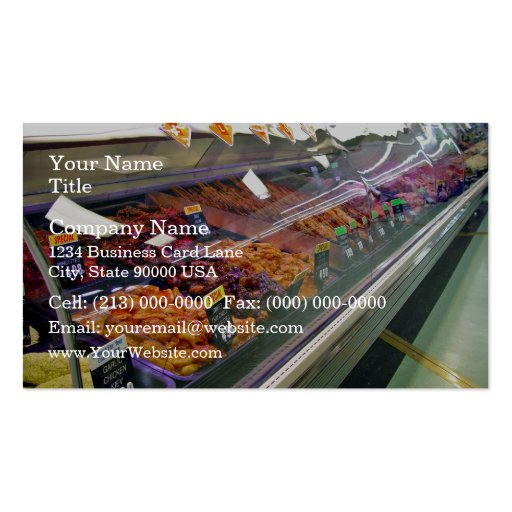 Fresh Meat Deli Counter at supermarket Business Card Templates