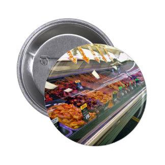 Fresh Meat Deli Counter at supermarket Pinback Button