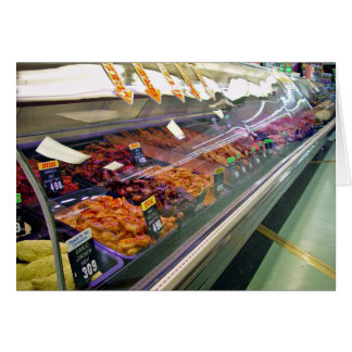 Fresh Meat Deli Counter at supermarket Greeting Card