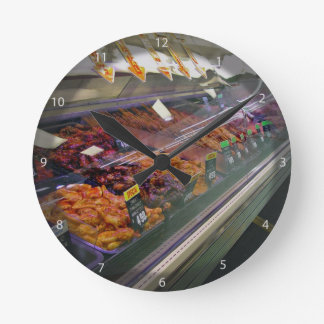 Fresh Meat Deli Counter at supermarket Wall Clocks