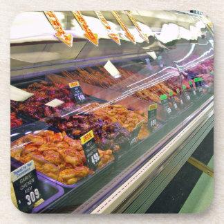Fresh Meat Deli Counter at supermarket Beverage Coaster