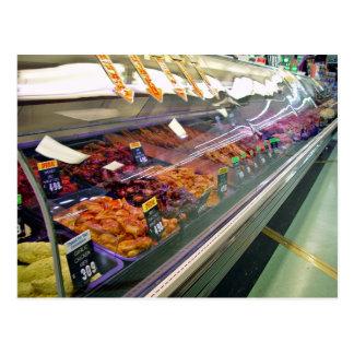 Fresh Meat Deli Counter at supermarket Postcard