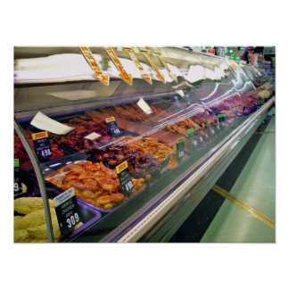 Fresh Meat Deli Counter at supermarket Poster