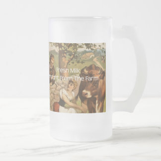 Fresh Milk Straight From the Farm Frosted Glass Beer Mug