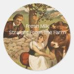 Fresh Milk Straight From the Farm Classic Round Sticker