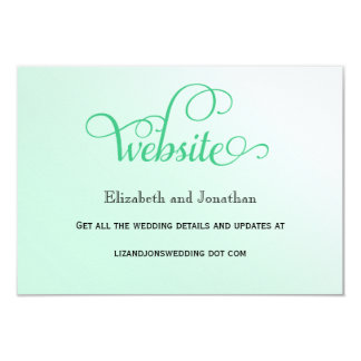 Fresh Mint Curly Script Wedding Website Card