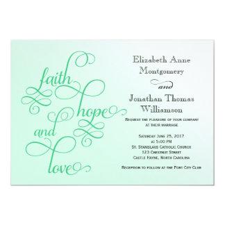 Fresh Mint Faith Hope and Love Wedding Invite
