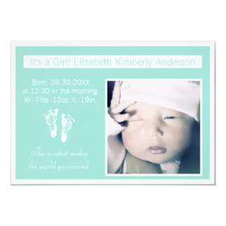 Fresh Mint Footprints Photo Birth Announcement