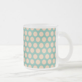 Fresh Mint Green and Yellow Circle Pattern Frosted Glass Coffee Mug