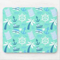 Fresh mint nautical sailor pattern mouse pad