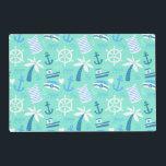 "Fresh mint nautical sailor pattern placemat<br><div class=""desc"">Fresh mint nautical sailor pattern with cute illustrative sailor&#39;s hat,  sailor&#39;s shirt elements,  sailor&#39;s boat and anchors.</div>"