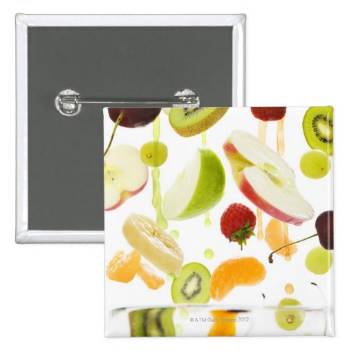 Fresh mixed fruit with apple & orange juice 2 inch square button