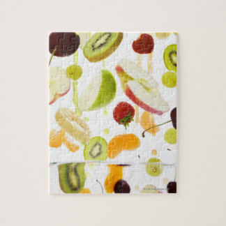Fresh mixed fruit with apple & orange juice jigsaw puzzle
