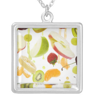 Fresh mixed fruit with apple & orange juice silver plated necklace