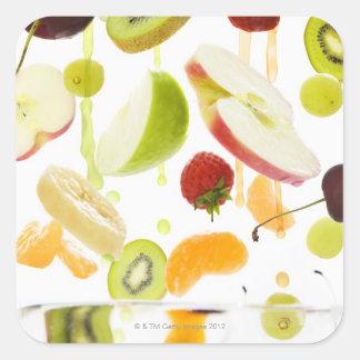 Fresh mixed fruit with apple & orange juice square sticker