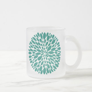 Fresh Modern Abstract Chrysanthemum Glass Mug