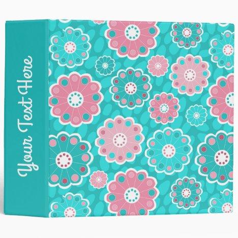 Fresh modern floral pink aqua 3 ring binder