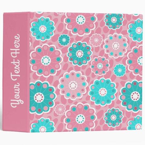 Fresh modern floral pink aqua binder