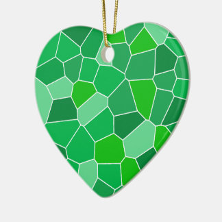 Fresh modern organic pattern Double-Sided heart ceramic christmas ornament
