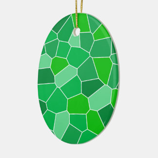 Fresh modern organic pattern Double-Sided oval ceramic christmas ornament