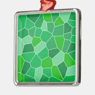 Fresh modern organic pattern square metal christmas ornament
