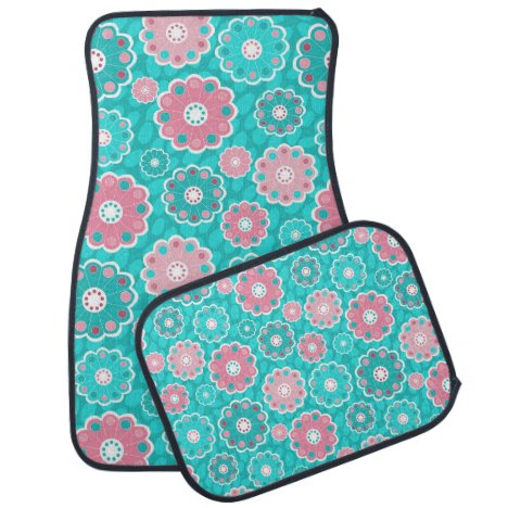 Fresh modern pink & aqua floral car mat