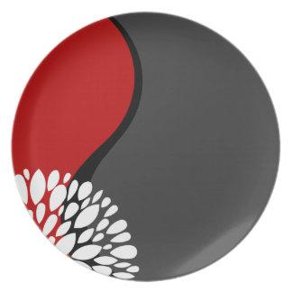 Fresh Modern red black white charcoal Yin Yang Plate