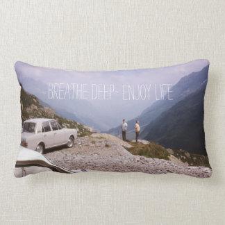 Fresh Mountain Air Breathe It In Enjoy Life Quote Lumbar Pillow
