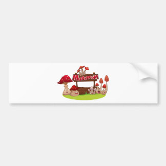 Fresh mushroom with happy face bumper sticker