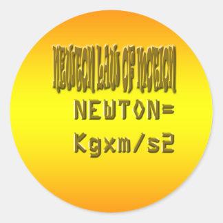 Fresh newton law of motion classic round sticker