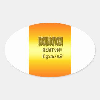 Fresh newton law of motion oval sticker