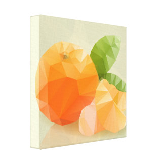 Fresh orange fruit, in modern triangulated style canvas print