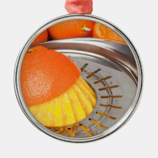 Fresh orange juice round metal christmas ornament