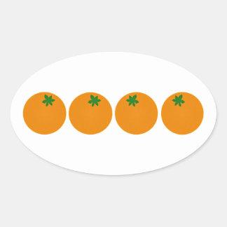 Fresh Oranges Logo Oval Sticker